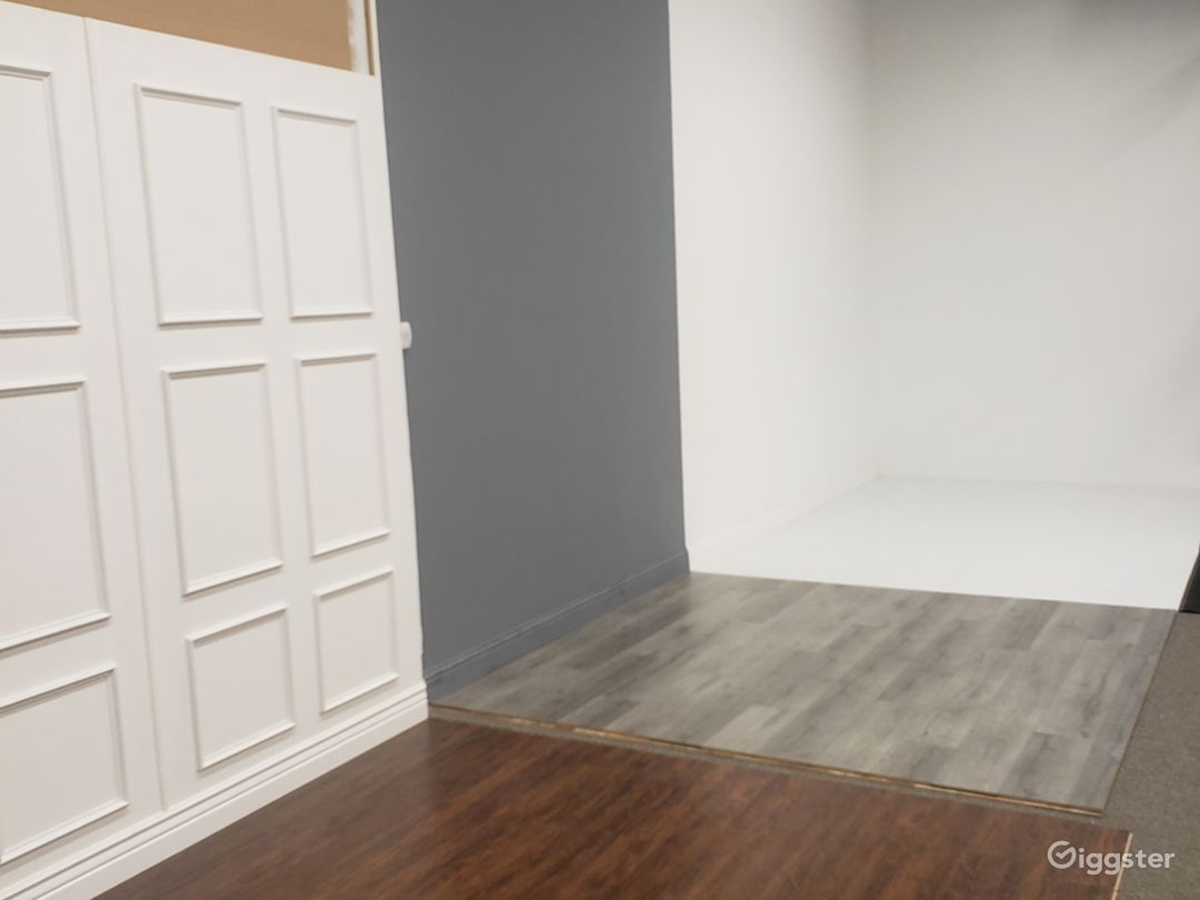 Half of the studio. Gray and White walls are 13ft tall!