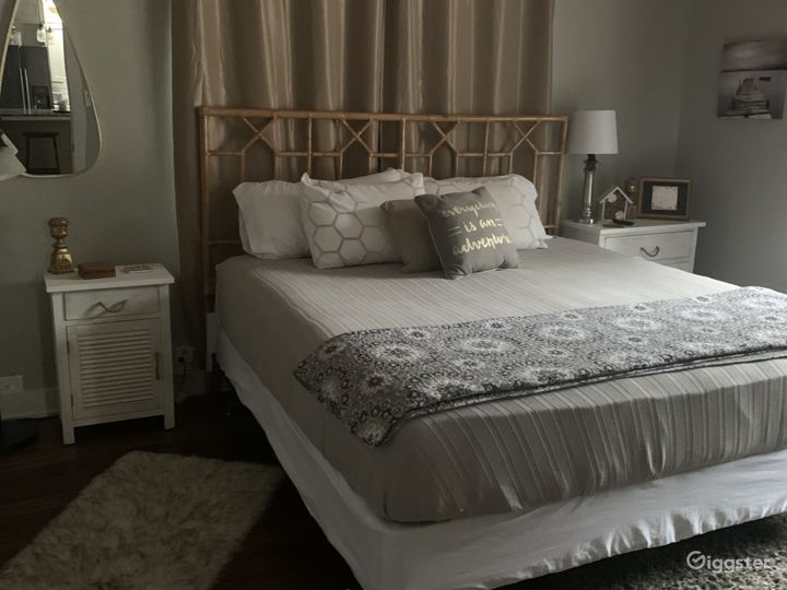 Two bedrooms are almost identical in size and decor.