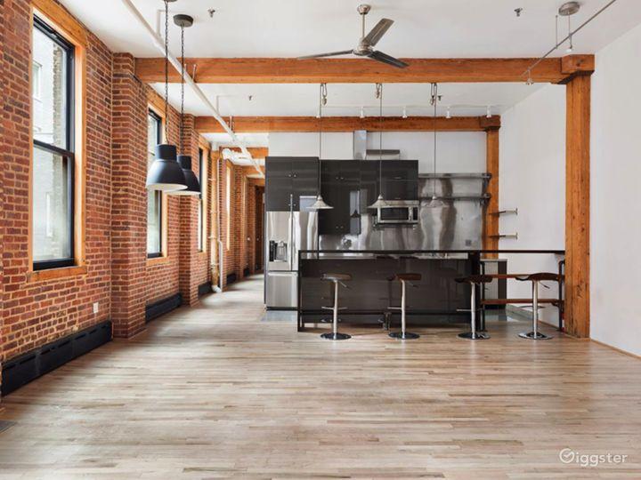 Open kitchen with breakfast bar.