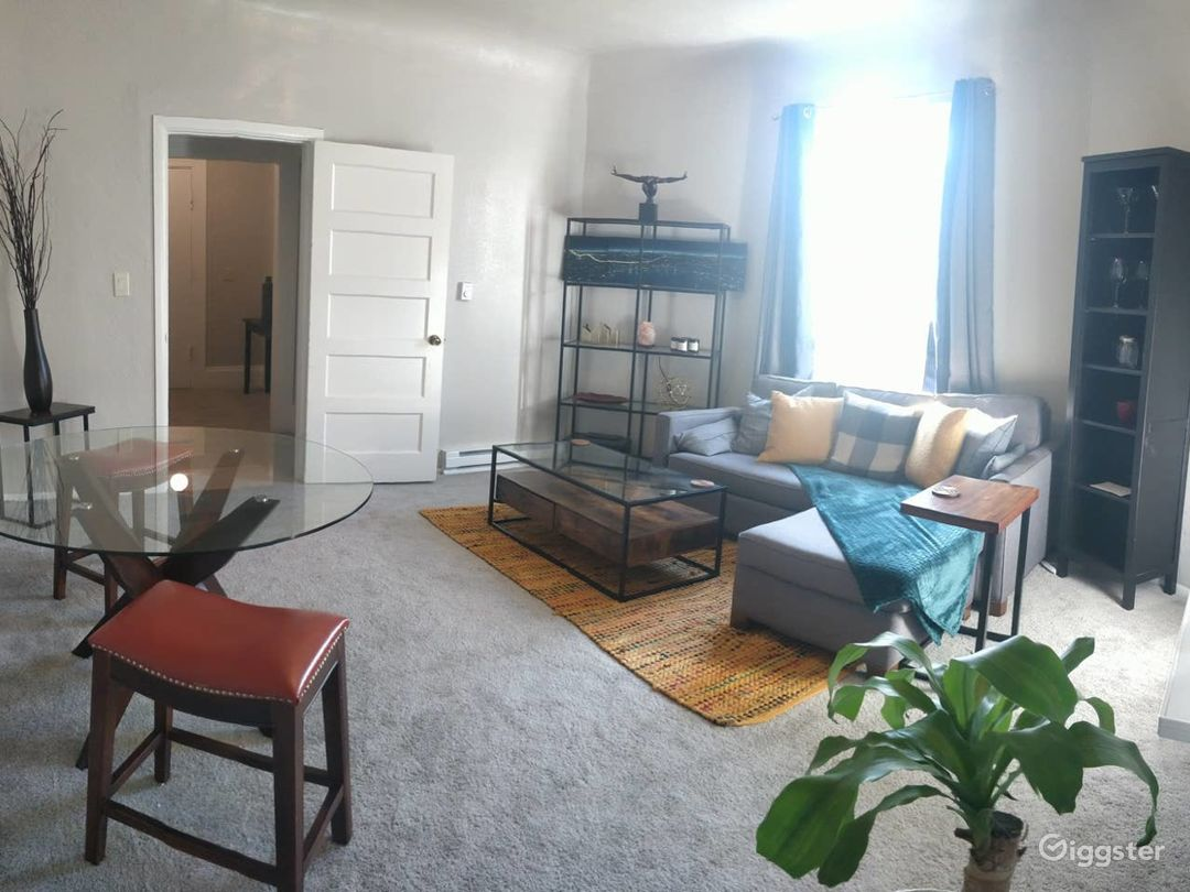 Bright living room with curtains apart and light streaming in!
