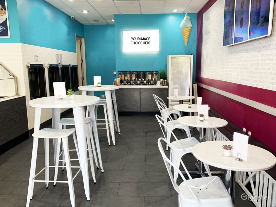 Frozen yogurt machine and dining area.