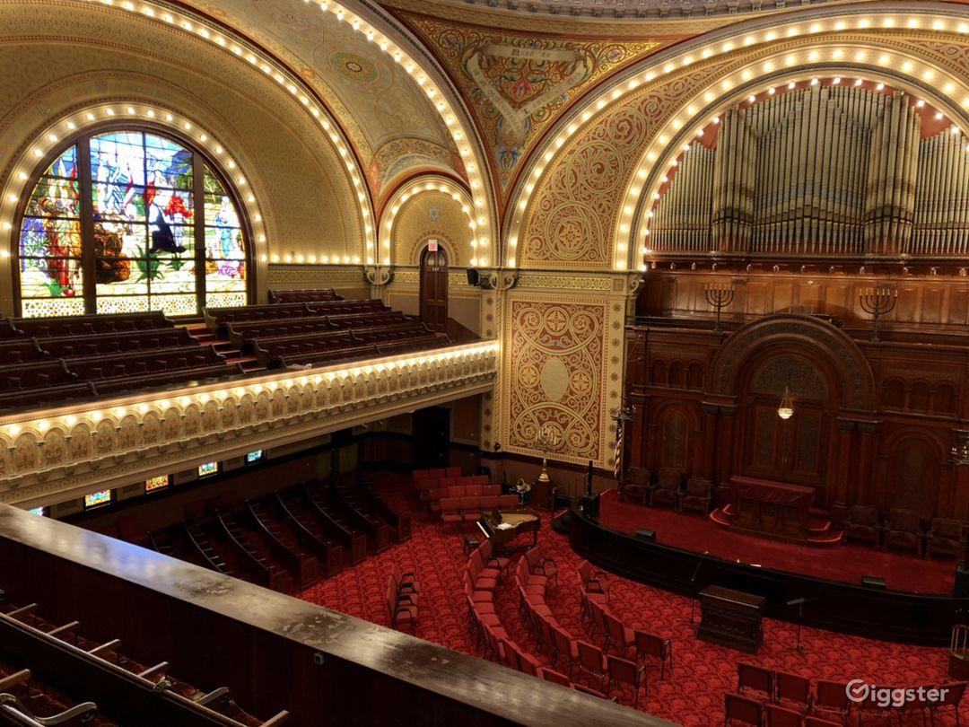 Main Sanctuary with restored /working Harris organ.
