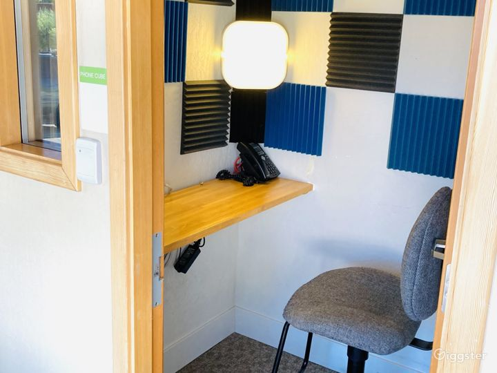 Podcast and video session ready with acoustic tiles and vanity lights