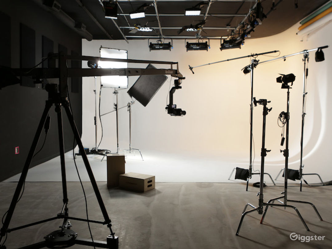 Spacious Cyclorama Stage with on-site equipment.