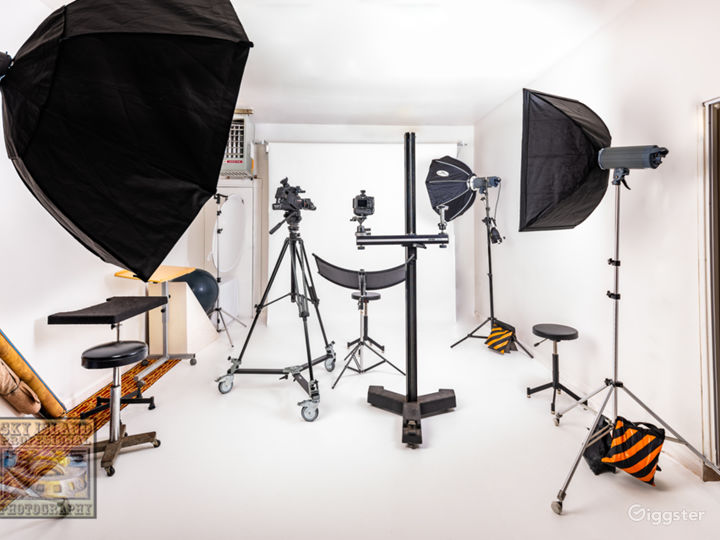 """Main studio area with 107"""" background paper rolled down."""