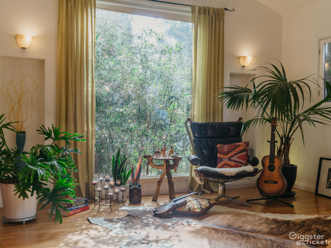 Sunny and Chairs Living Room: Working fireplace, vintage guitar, and cowhide rug look chic with the Rare 1970s Sigurd Ressell Falcon Chair set.