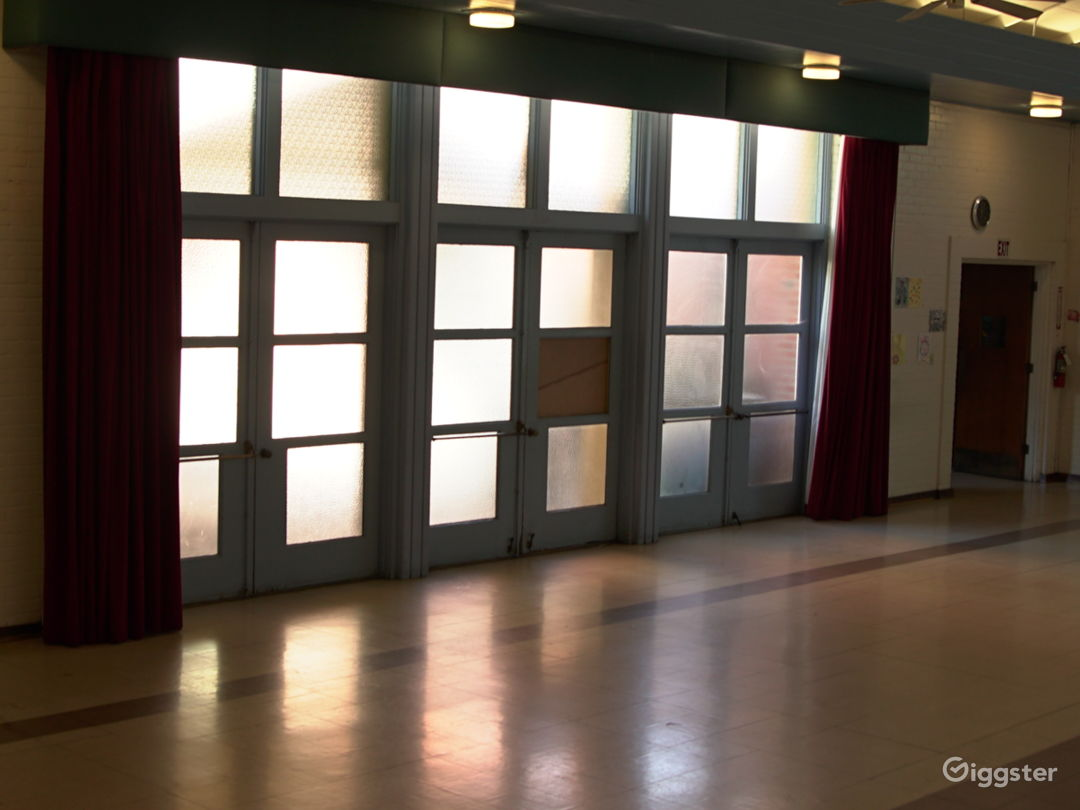 West Wall includes three sets of glass double doors.