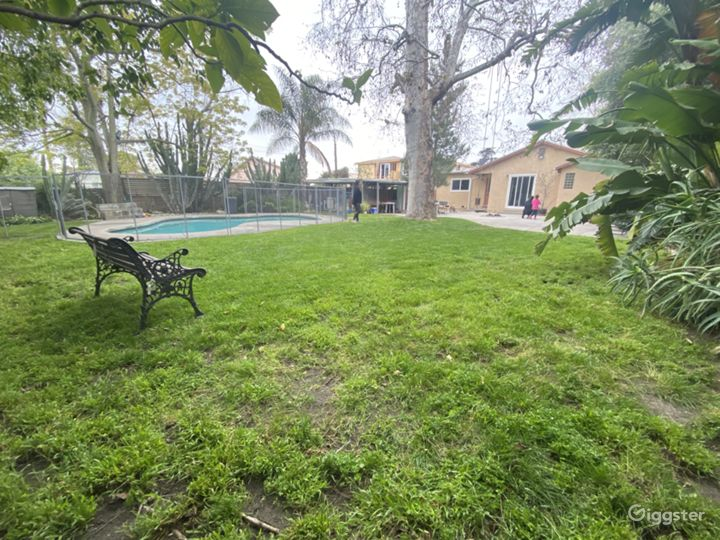 Large secluded backyard with pool, patio & firepit Photo 4