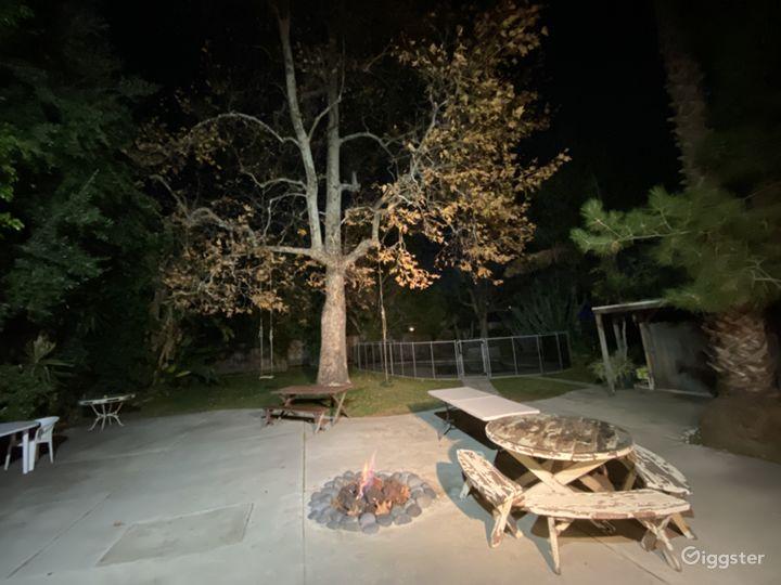 Firepit in large backyard