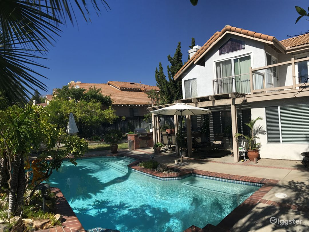 Big pool 25ft/15ft and backyard with build-in BBQ, dining area, lounge tables and lounge chairs.