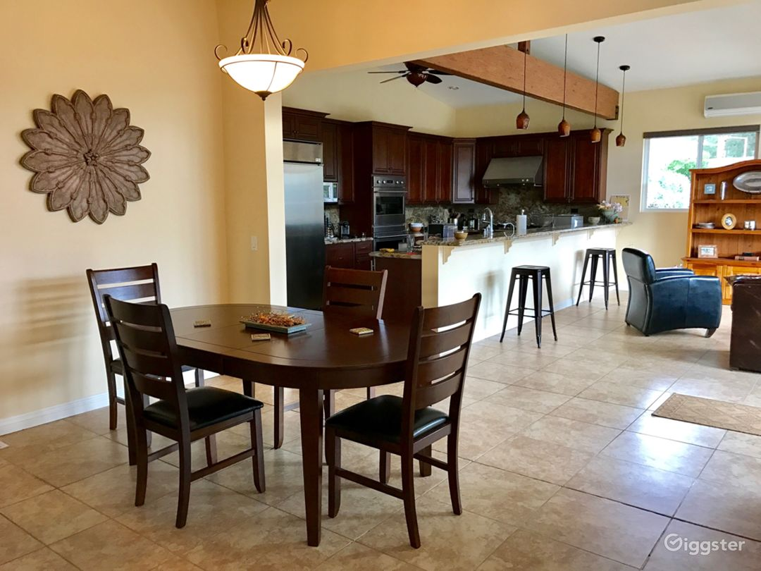 Dining open to great room and kitchen