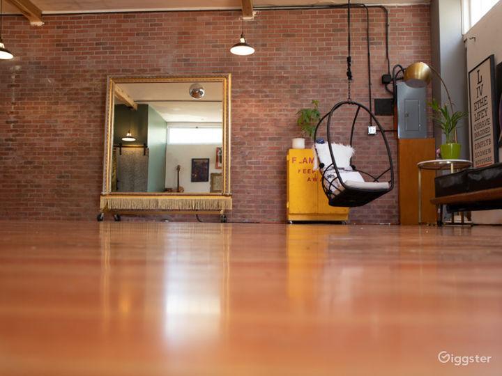 Studio space left open for fitness classes & studio shoots.