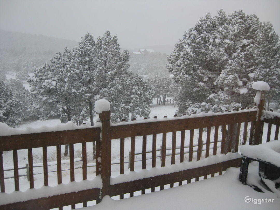 View of snow storm from cabin deck.
