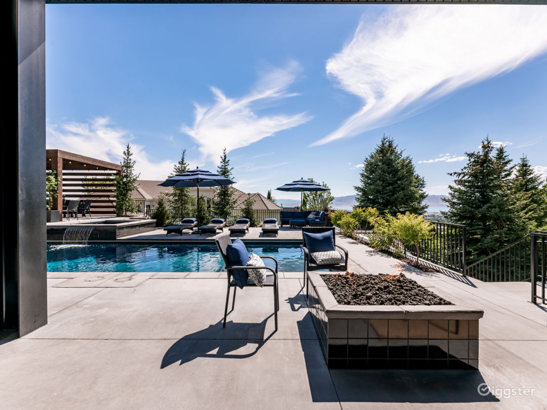 Firepit, pool, waterfall, spa on city view terrace