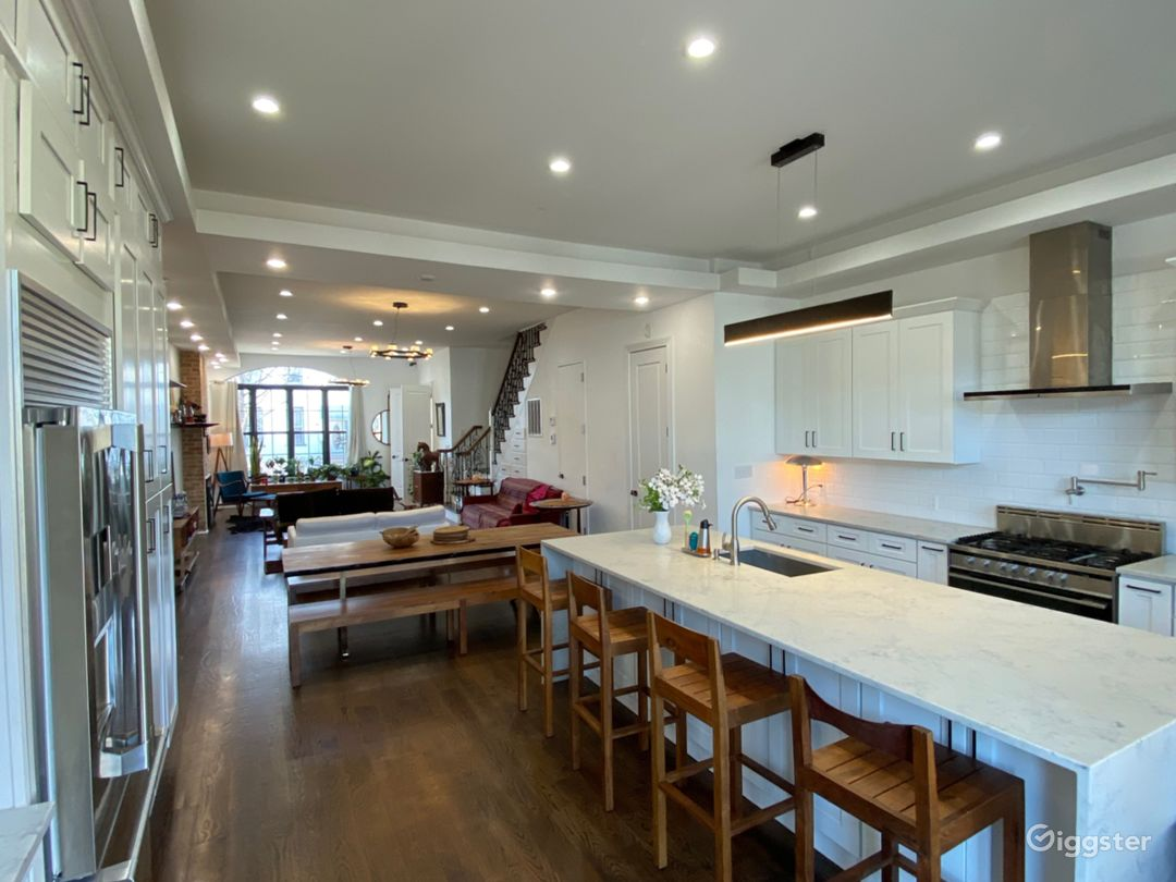 Open kitchen connected to large living room