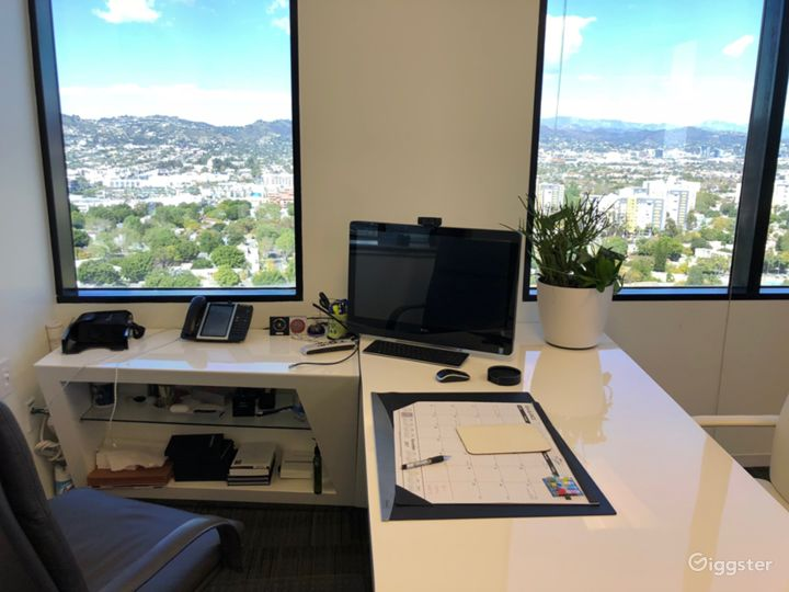 Bold and iconic desk with a view.