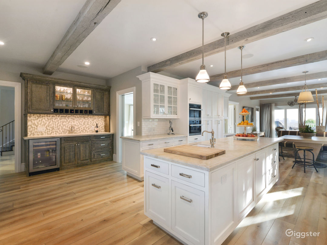 Kitchen and Family Room with Bay Views