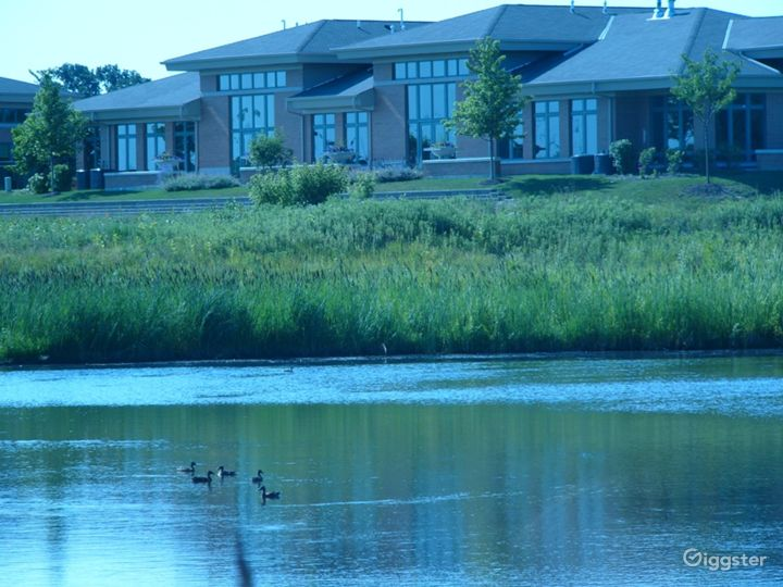 View of Clarus Center from the pond