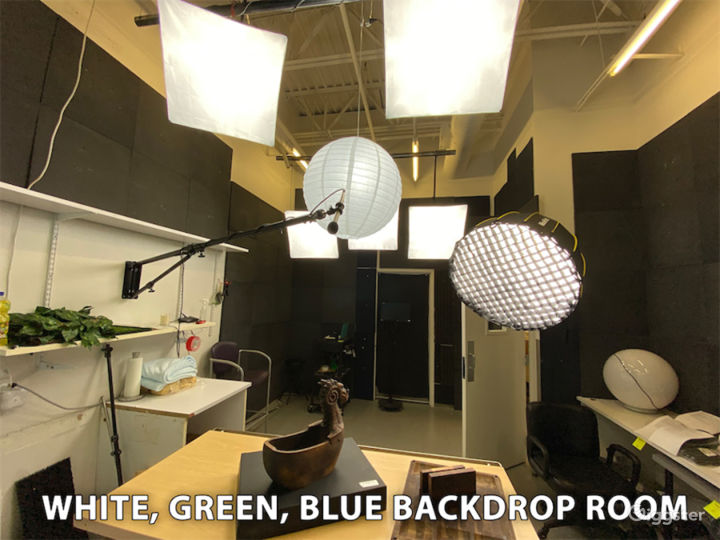 Green Screen, Blue Screen, White Backdrop with Teleprompters