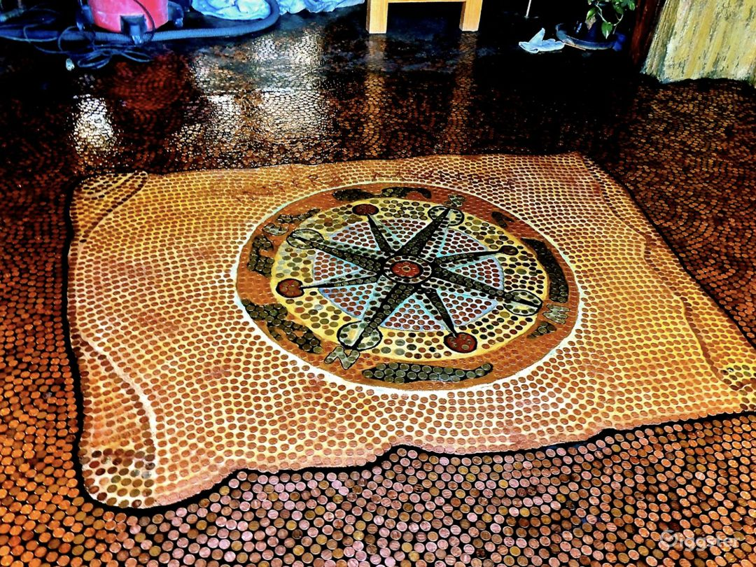Penny mosaics on the floor.