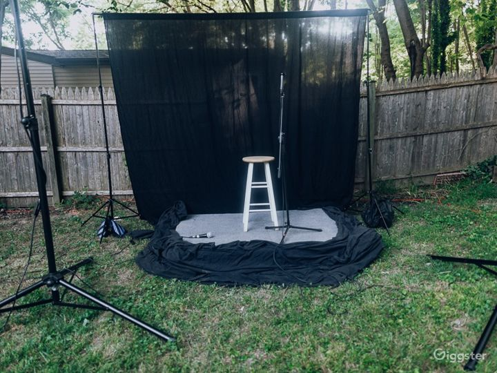 Backyard Event Space in with Stage Photo 5