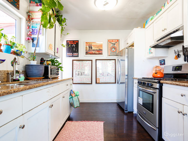 Kitchen with plants, stainless steel appliances, art & dark hardwood floors.