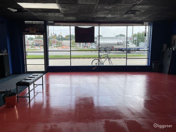 Dance floor, lobby and front door