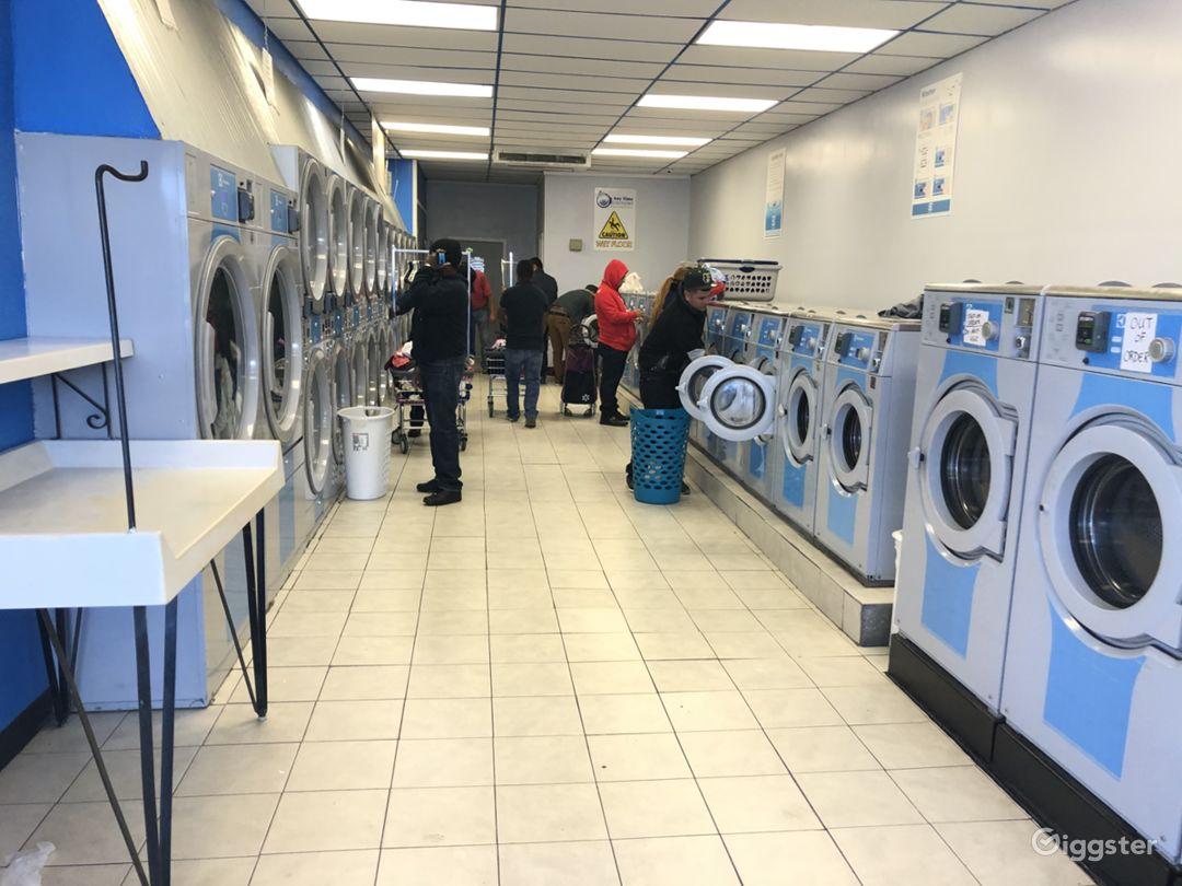Interior of laundromat