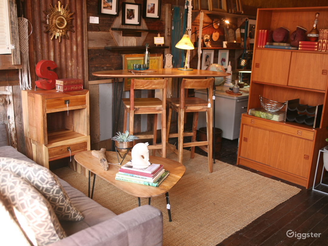 One of many curated living space set ups in the store.