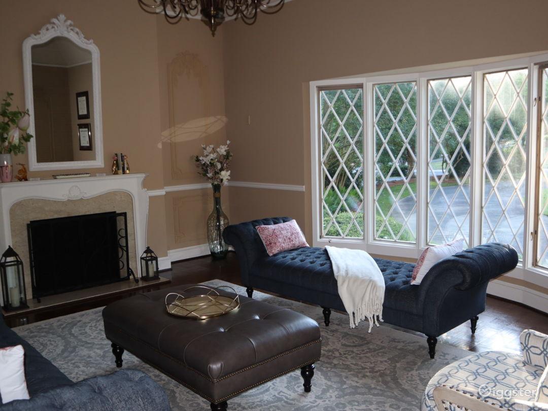 Large living room with 1920s Belgium chandelier