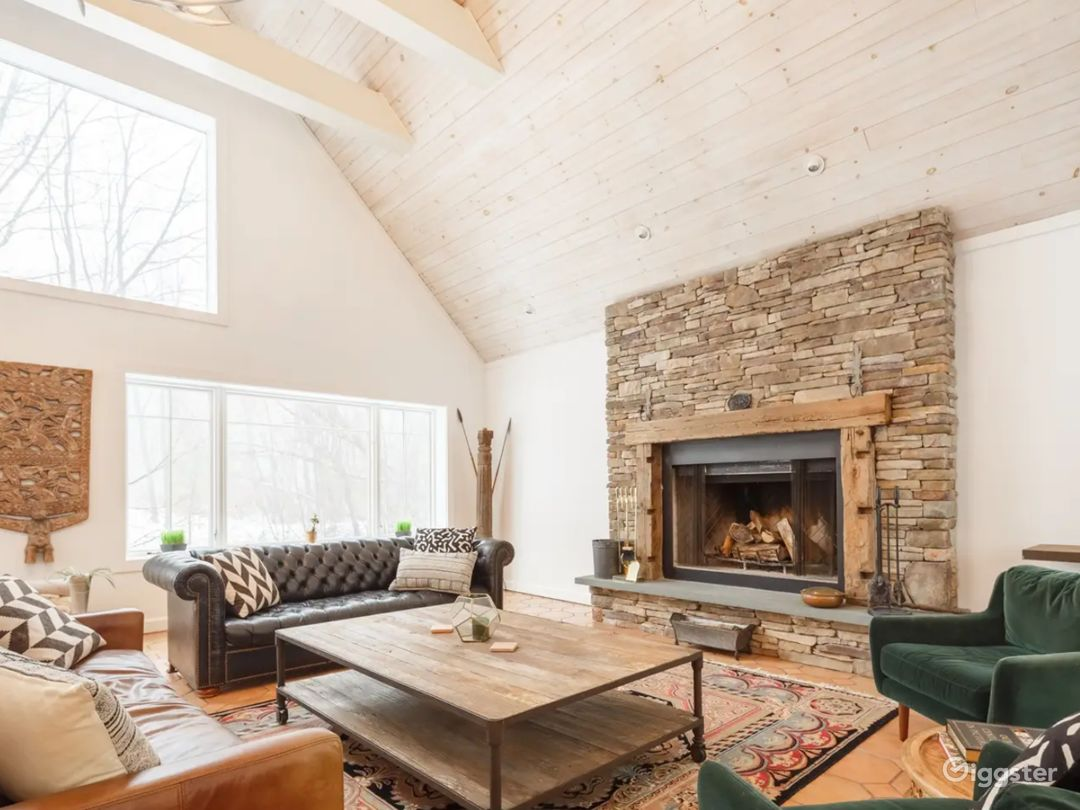 Great Room. 30 Ft. Ceilings. Real Wood Burning Fireplace. Natural Light.
