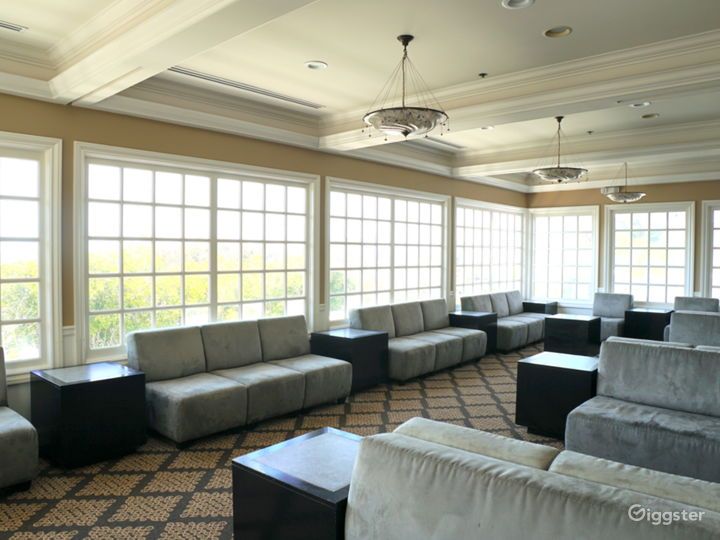 lounge area with bay windows and ocean views (can be set with tables as restaurant)