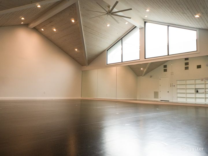 """Main """"Cathedral"""" yoga / event room (950sf)"""