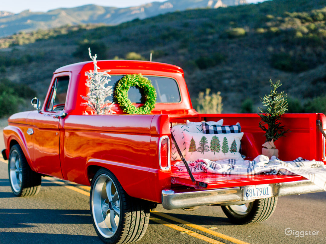 Red Vintage Truck with Orchard Background  Photo 3