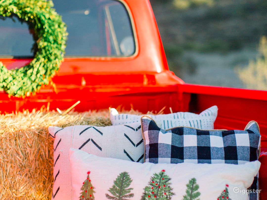 Red Vintage Truck with Orchard Background  Photo 5
