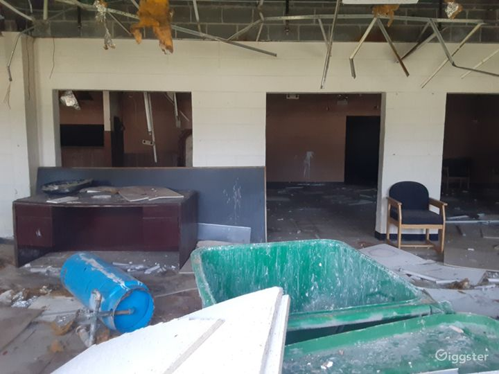 Inside unfinished office areas