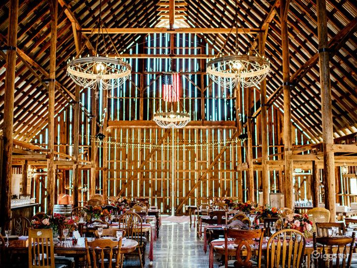 Interior facing south entrance and barn doors
