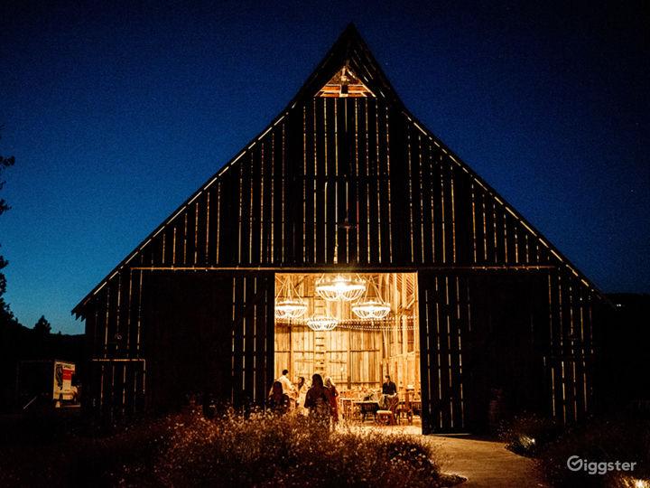 Barn and courtyard at night