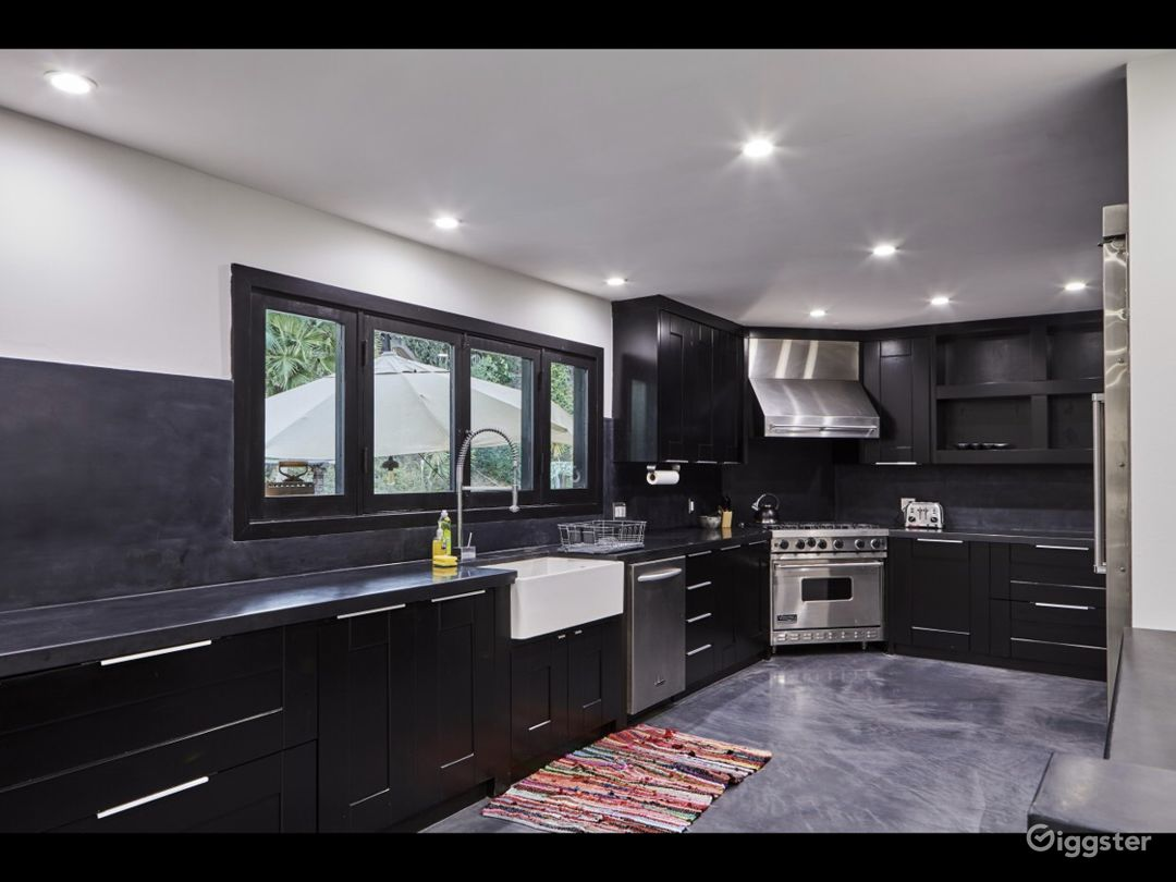 State of the art chef kitchen with professional stainless steel appliances