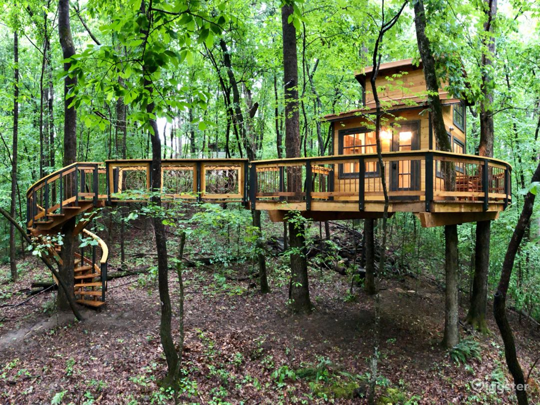Spiral staircase, suspension bridge, and treehouse on its platform with large wraparound deck.