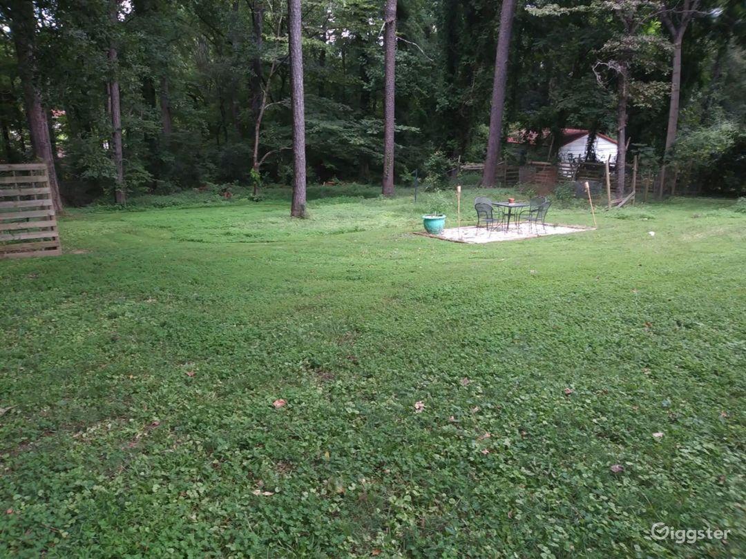 Backyard view from the long drive way