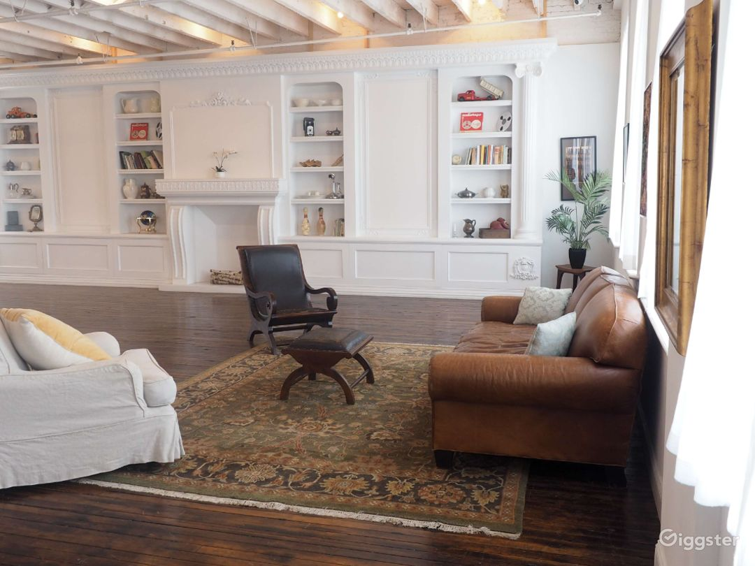 Studio with Built-in Bookcase and Fireplace Photo 2