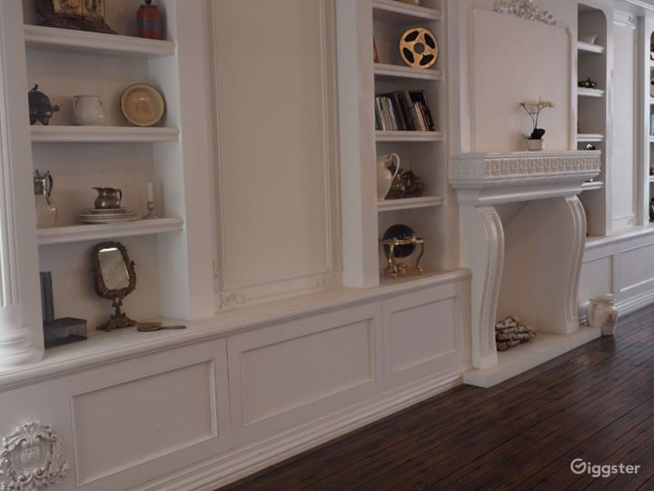 Studio with Built-in Bookcase and Fireplace Photo 4