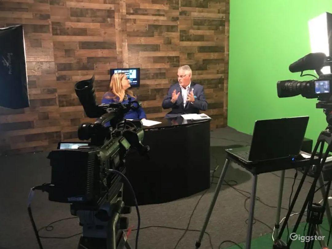 Live Broadcast TV Studio with Green Screen  Photo 1