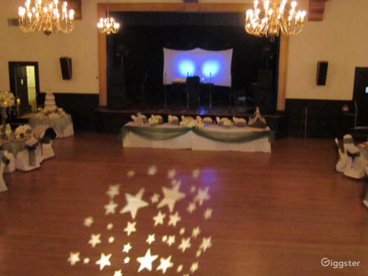 Historic Ballroom with High Ceilings and Beams Photo 4