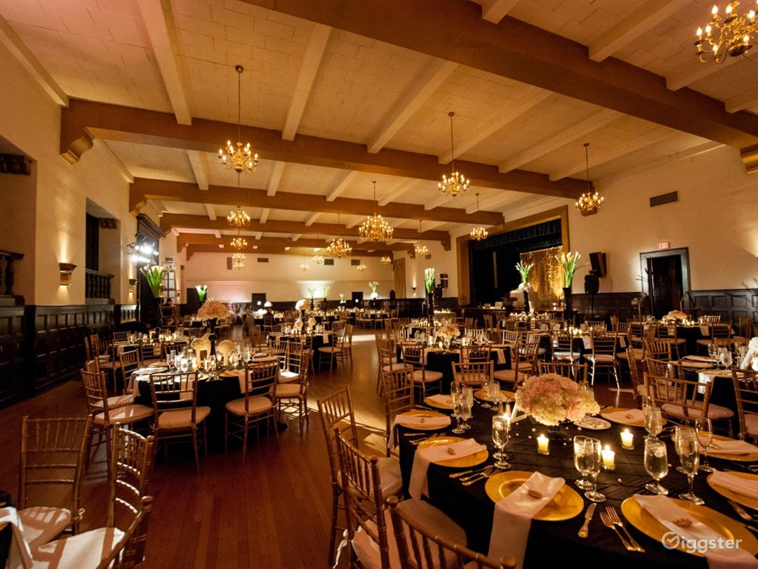 Historic Ballroom with High Ceilings and Beams Photo 1
