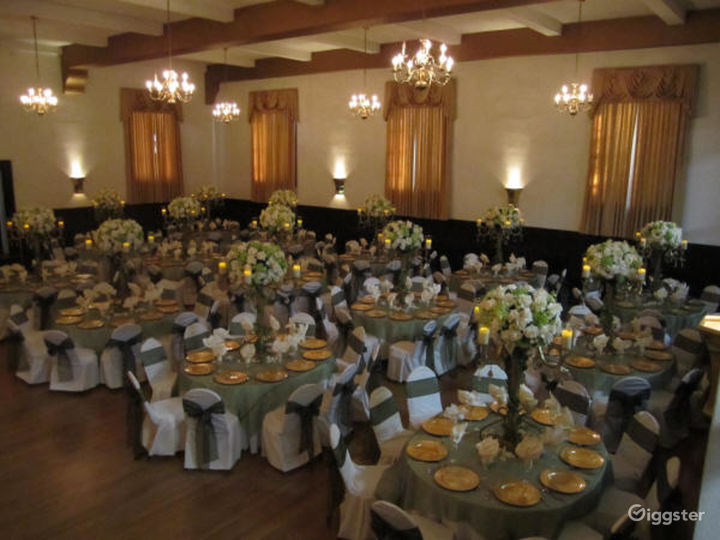 Historic Ballroom with High Ceilings and Beams Photo 3