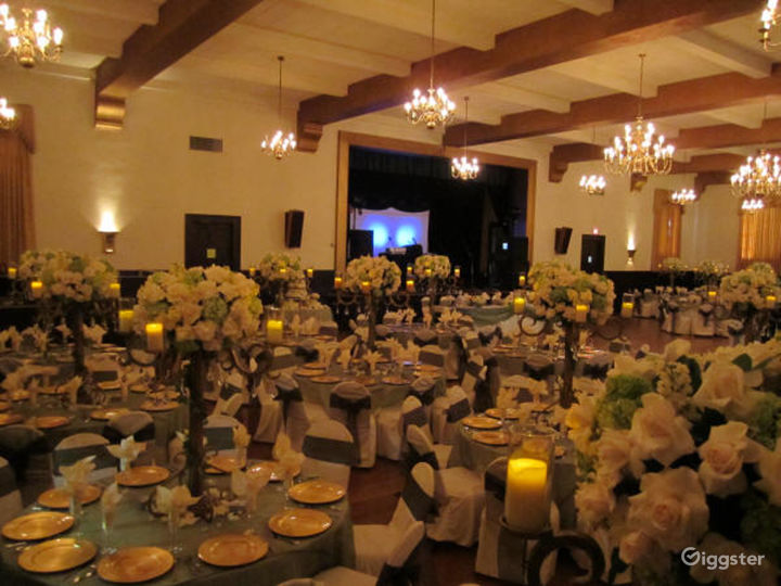 Historic Ballroom with High Ceilings and Beams Photo 5