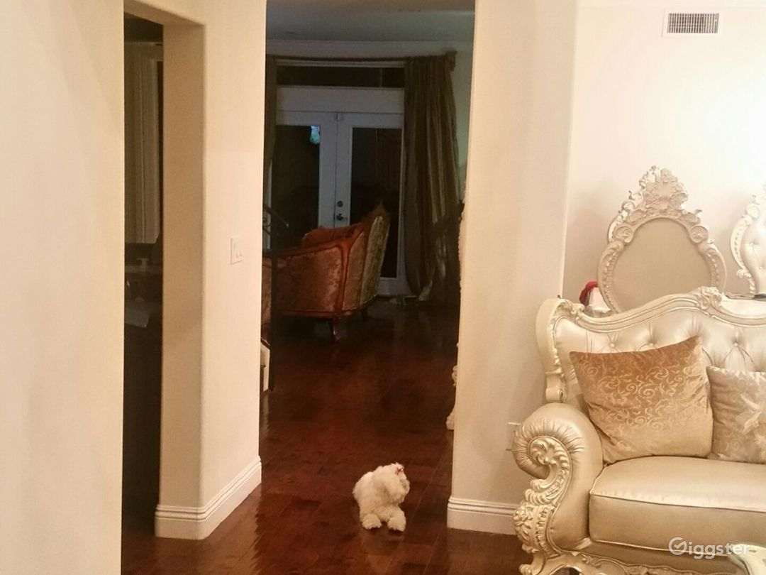 Hallway Leading to dining room/ family room. (Dog in the middle)