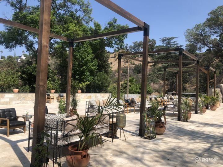 Huge 7500+ SQFT patio space with premium turkish travertine parvers.